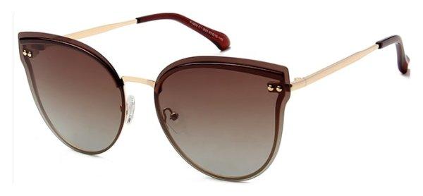 På billedet ser du variationen Cat-Eye solbriller til kvinder, Miss fra brandet Solbrillerne.dk i en størrelse H: 65 cm. B: 15 cm. L: 142 cm. i farven Brun/Guld