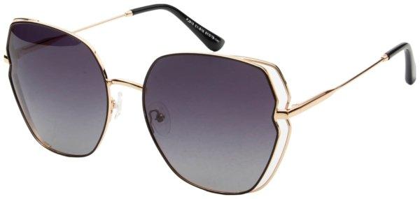 På billedet ser du variationen Irregulær solbriller til kvinder, Ally fra brandet Solbrillerne.dk i en størrelse H: 61 cm. B: 18 cm. L: 147 cm. i farven Sort